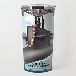 USS City of Corpus Christi - Pearl Harbor Submarine Service (Silver Dolphins) Travel Mug