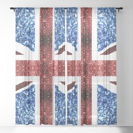 United Kingdom UK flag blue and red sparkles Sheer Curtain