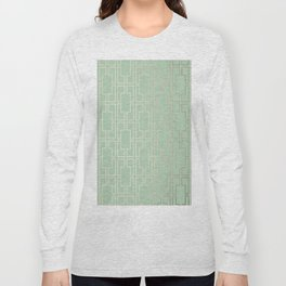 Simply Mid-Century in White Gold Sands and Pastel Cactus Green Long Sleeve T-shirt