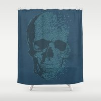 deadmau5 Shower Curtains featuring Melodic Skull by Sitchko Igor