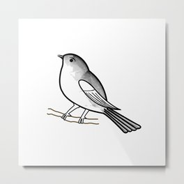 Cute bird on a twig- Tiny sparrow drawing in shades of grey Metal Print
