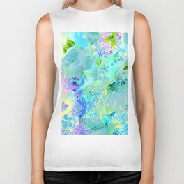 abstract floral Biker Tank