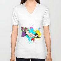 yoga V-neck T-shirts featuring Yoga by Don Kuing