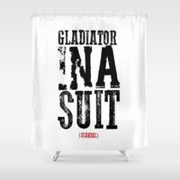 gladiator Shower Curtains featuring Gladiator in a suit  by Luxe Glam Decor