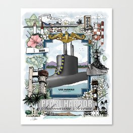 USS Hawaii - Pearl Harbor Submarine Service (Gold Dolphins) Canvas Print