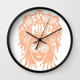 Open Your Mind in orange Wall Clock