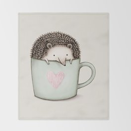Hedgehog in a Mug Throw Blanket