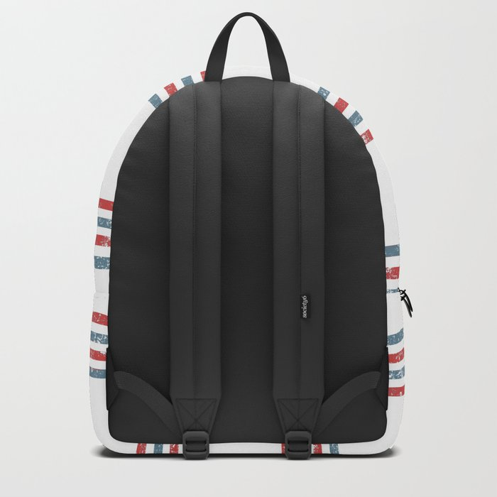 Maritime Beach Pattern- Red and Blue Stripes on White- Horizontal #Society6 Backpack