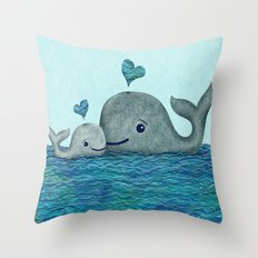 Whale Mom and Baby with Hearts Throw Pillow