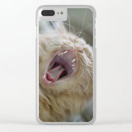 Ginger Cat With Long Whiskers Yawning Clear iPhone Case