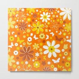 Butterfly Flowers And Butterflies In Orange Metal Print