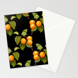 Peach pattern with leaves on a black background Stationery Cards