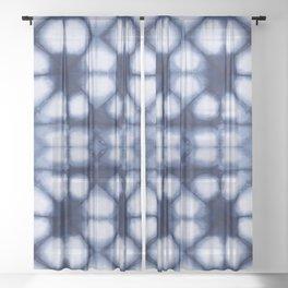 Shibori Ahi Blues Sheer Curtain