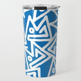 Abstract sky blue white geometrical modern pattern Travel Mug