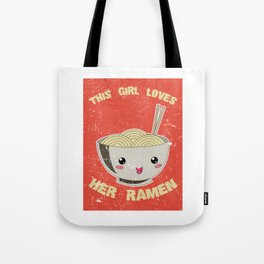 This Girl Loves Her Ramen Japanese Noodles Lover Vintage Retro Tote Bag