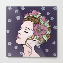 Flower Crown Girl Metal Print