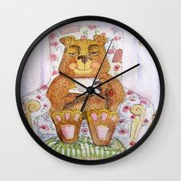 Hazel, tea time bear Wall Clock