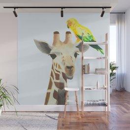 Giraffe and Parakeet Wall Mural