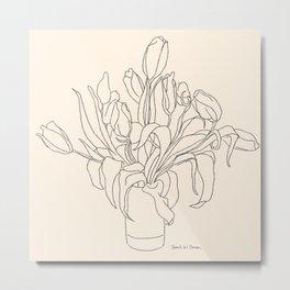 Tulip Bouquet Line Drawing Metal Print