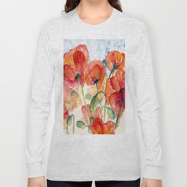 Tangerine Orange Poppy field WaterColor by CheyAnne Sexton Long Sleeve T-shirt