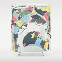 san diego Shower Curtains featuring San Diego by Studio Tesouro