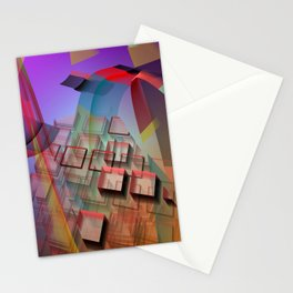 Modern geometric abstract with 3-d effects Stationery Cards