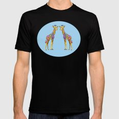 Geraldine the Geniunely Nice Giraffe Blue MEDIUM Black Mens Fitted Tee