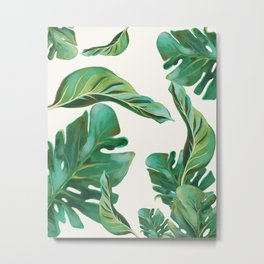 Monstera Leaf Pattern #1 White Background  Metal Print