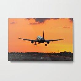 Beautiful Airbus Sunset Landing Metal Print