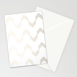 Simply Deconstructed Chevron White Gold Sands on White Stationery Cards