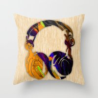 headphones Throw Pillows featuring Headphones by marvinblaine