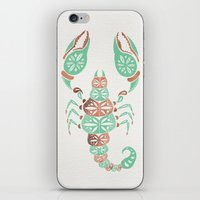 rose gold iPhone & iPod Skins featuring Scorpion – Mint & Rose Gold by Cat Coquillette