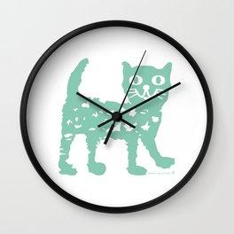 Mint cat drawing, cat drawing Wall Clock