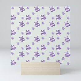 Seamless Pattern Purple Bamboo Grey Background 10 Mini Art Print