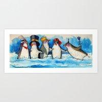 penguins Art Prints featuring penguins by oxana zaika