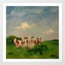 5 cows in a pasture Art Print