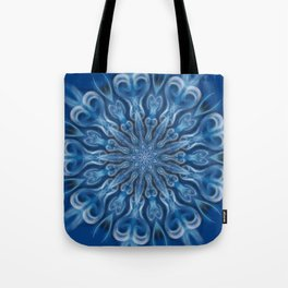 electric blue swirl mandala Tote Bag