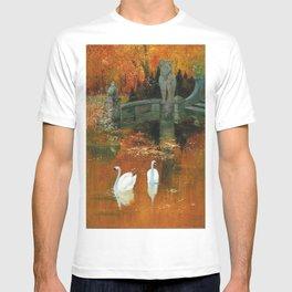 Swans in a Park in Autumn, landscape painting by Hans Rudolf Schulze T-shirt