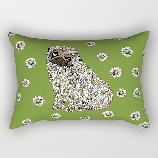 Pug Daisy Rectangular Pillow