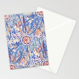 Boho Flower Burst in Red and Blue Stationery Cards