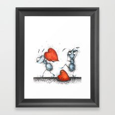 Two ants with hearts Framed Art Print