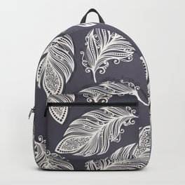 Seamless Pattern with Feathers Backpack
