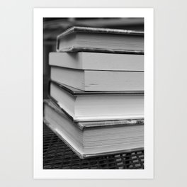 Stack of Books (in black and white) Art Print
