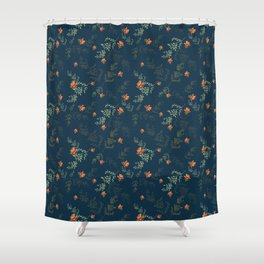 The floral style pattern on a blue background . Shower Curtain
