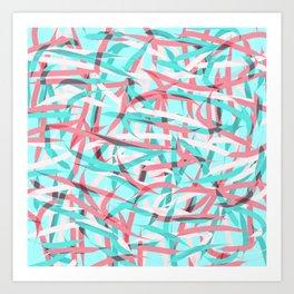 Coral Pink Aqua Blue Abstract Artsy Pattern Art Print