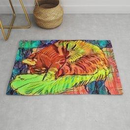 Sleeping Spicy Feline Painting (Ginger Cat) Rug
