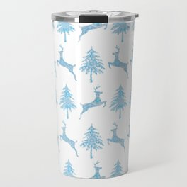 Leaping Deer in a Winter Forest Travel Mug
