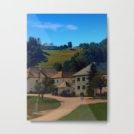Small village in autumn scenery Metal Print