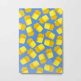 French Fries Pattern Wall Decor Home Art Print Cartoon Poster Yellow Blue Pattern Decoration Metal Print