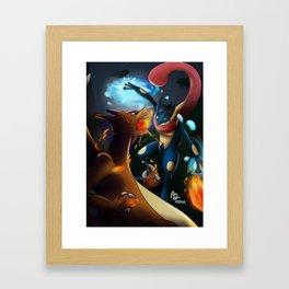 Charizard VERSUS Greninja Framed Art Print